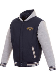 New Orleans Pelicans Navy Blue Reversible Hooded Heavyweight Jacket