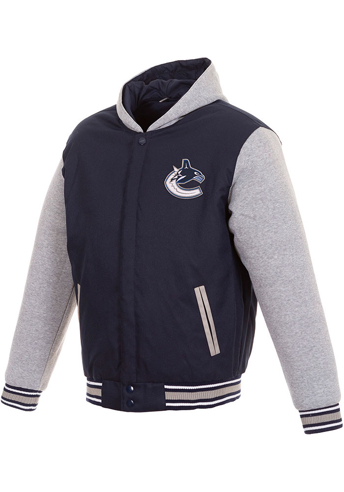 Vancouver Canucks Mens Navy Blue Reversible Hooded Heavyweight Jacket - Image 1