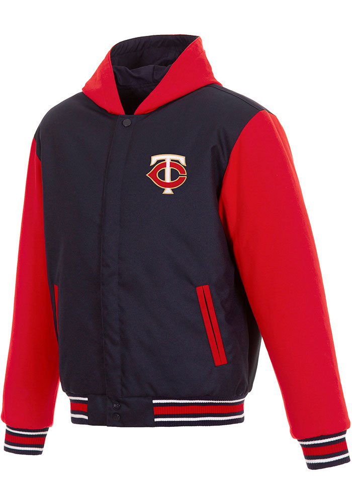 Minnesota Twins Mens Navy Blue Reversible Hooded Heavyweight Jacket - Image 1