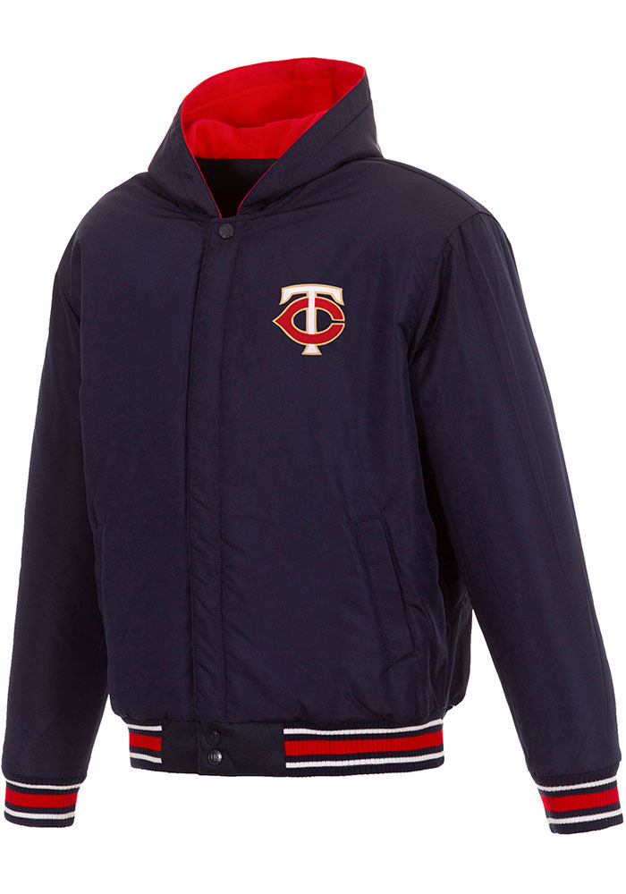 Minnesota Twins Mens Navy Blue Reversible Hooded Heavyweight Jacket - Image 3