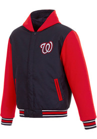 Washington Nationals Reversible Hooded Heavyweight Jacket - Navy Blue