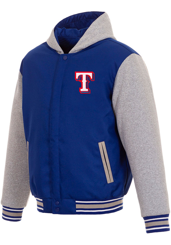 Texas Rangers Mens Blue Reversible Hooded Heavyweight Jacket - Image 1