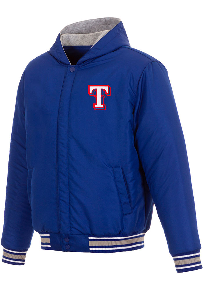 Texas Rangers Mens Blue Reversible Hooded Heavyweight Jacket - Image 3