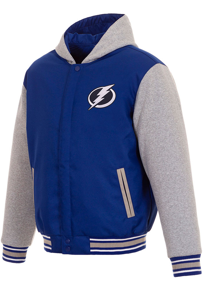Tampa Bay Lightning Mens Blue Reversible Hooded Heavyweight Jacket - Image 1