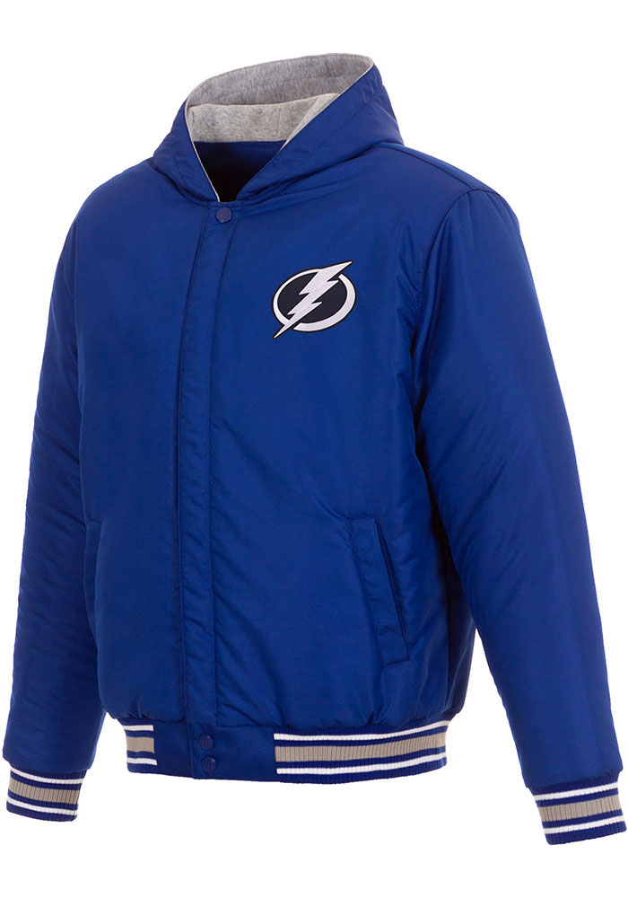 Tampa Bay Lightning Mens Blue Reversible Hooded Heavyweight Jacket - Image 3