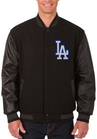 Los Angeles Dodgers Reversible Wool Leather Heavyweight Jacket - Black
