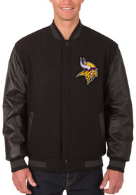 Minnesota Vikings Reversible Wool Leather Heavyweight Jacket - Black