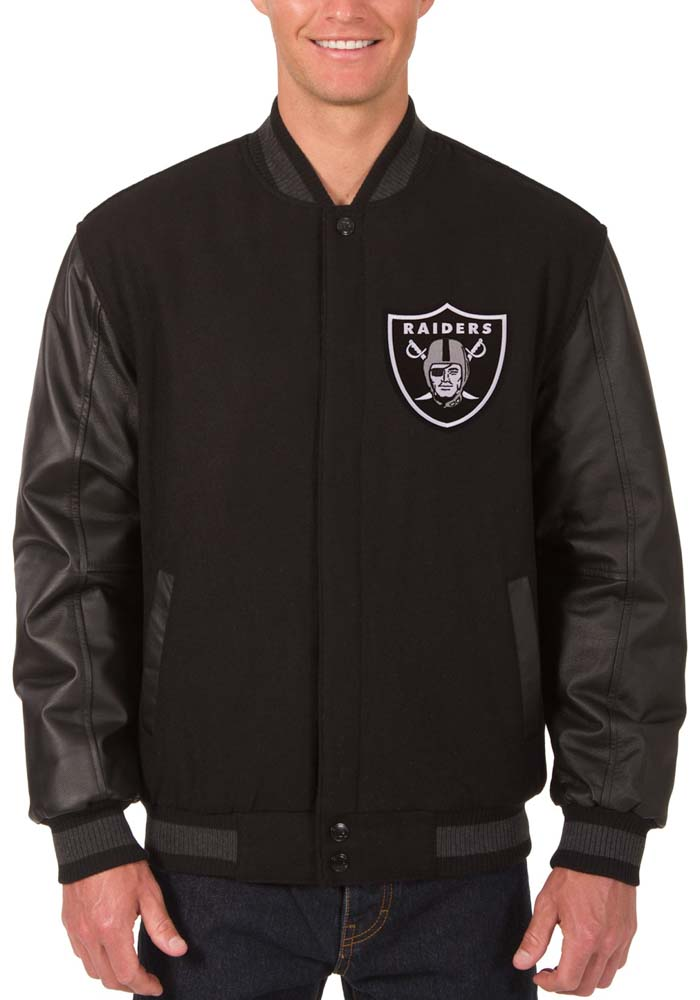 Las Vegas Raiders Mens Black Reversible Wool Leather Heavyweight Jacket - Image 1