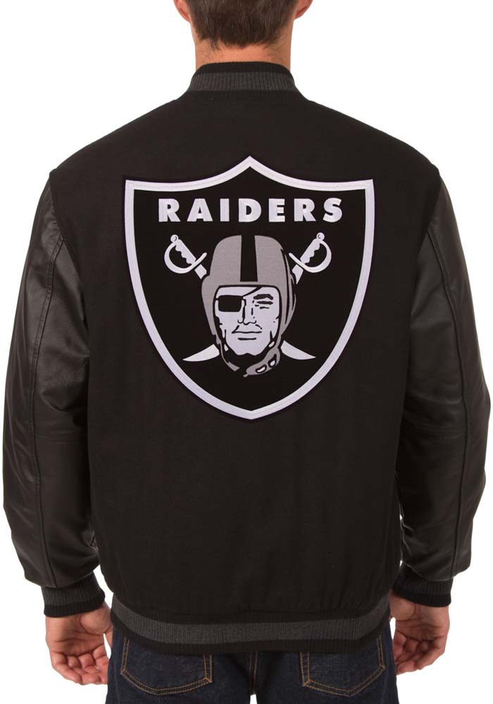 Las Vegas Raiders Mens Black Reversible Wool Leather Heavyweight Jacket - Image 3
