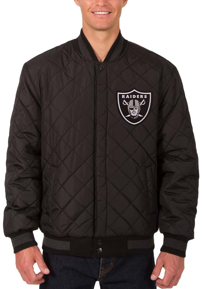 Las Vegas Raiders Mens Black Reversible Wool Leather Heavyweight Jacket - Image 5