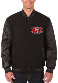 San Francisco 49ers Reversible Wool Leather Heavyweight Jacket - Black