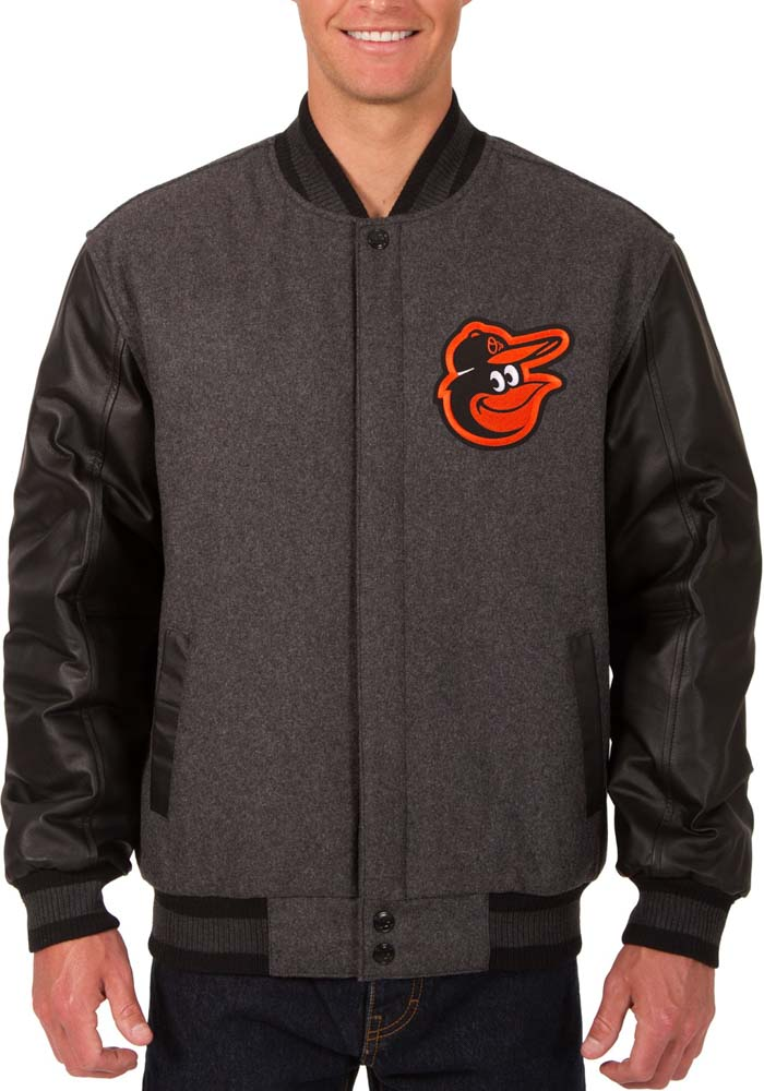 Baltimore Orioles Mens Grey Reversible Wool Leather Heavyweight Jacket - Image 1