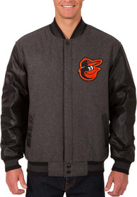 Baltimore Orioles Reversible Wool Leather Heavyweight Jacket - Grey