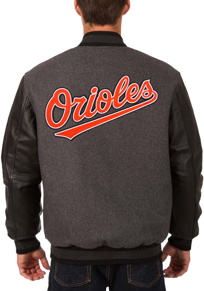 Baltimore Orioles Mens Grey Reversible Wool Leather Heavyweight Jacket - Image 2