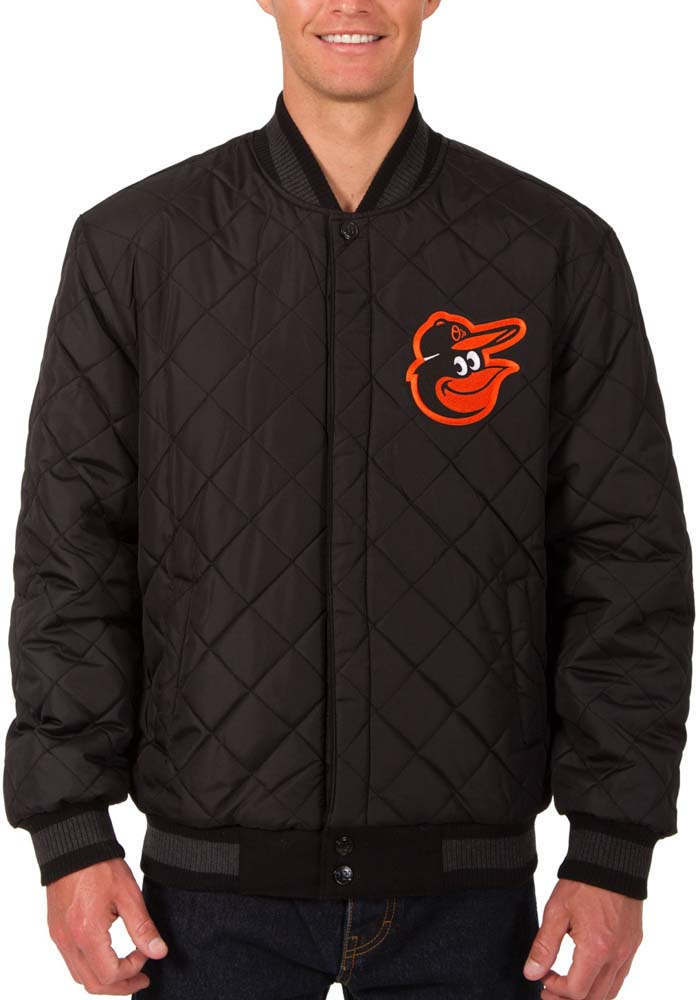 Baltimore Orioles Mens Grey Reversible Wool Leather Heavyweight Jacket - Image 3