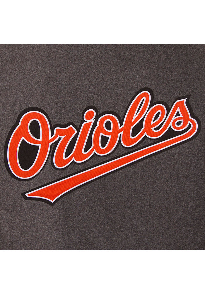Baltimore Orioles Mens Grey Reversible Wool Leather Heavyweight Jacket - Image 4