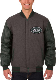 New York Jets Reversible Wool Leather Heavyweight Jacket - Grey