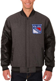 New York Rangers Grey Reversible Wool Leather Heavyweight Jacket