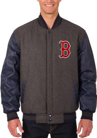 Boston Red Sox Grey Reversible Wool Leather Heavyweight Jacket