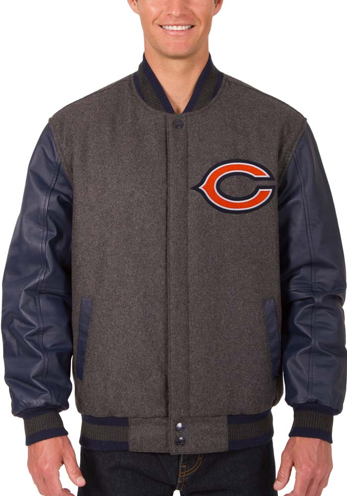 Chicago Bears Mens Grey Reversible Wool Leather Heavyweight Jacket - Image 1