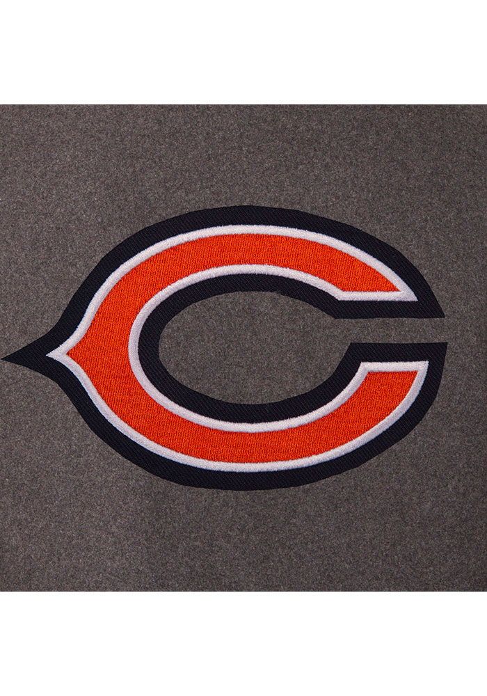 Chicago Bears Mens Grey Reversible Wool Leather Heavyweight Jacket - Image 2