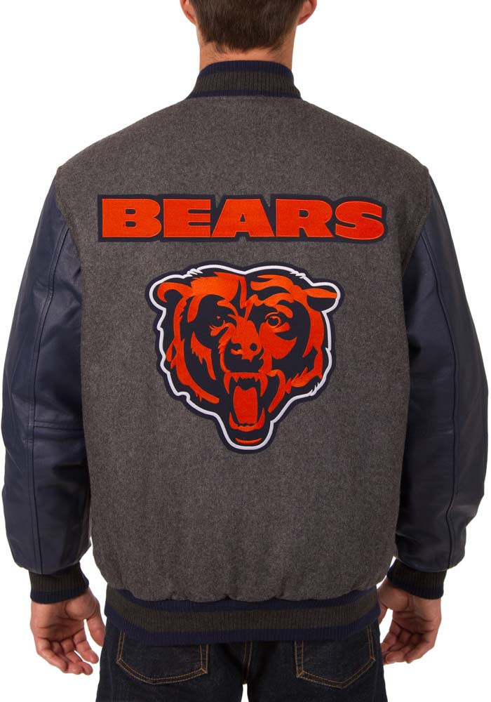 Chicago Bears Mens Grey Reversible Wool Leather Heavyweight Jacket - Image 3