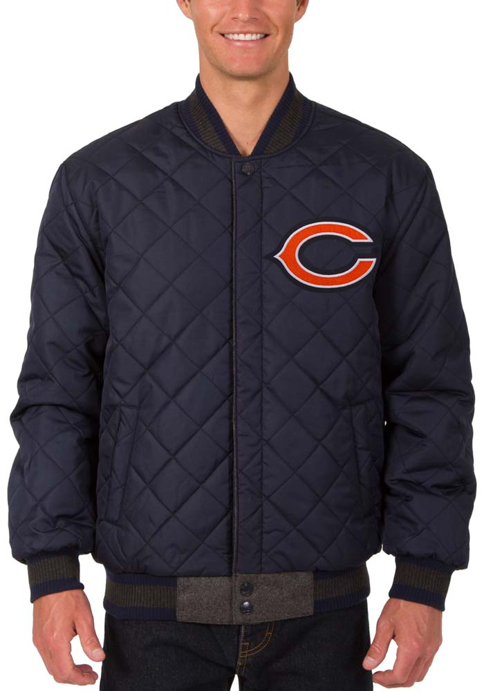 Chicago Bears Mens Grey Reversible Wool Leather Heavyweight Jacket - Image 5