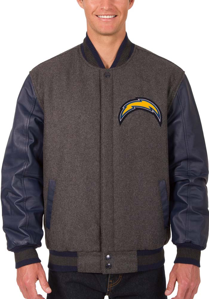 Los Angeles Chargers Mens Grey Reversible Wool Leather Heavyweight Jacket - Image 1