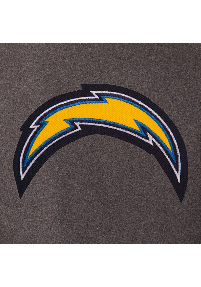 Los Angeles Chargers Mens Grey Reversible Wool Leather Heavyweight Jacket - Image 2