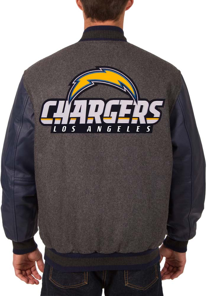 Los Angeles Chargers Mens Grey Reversible Wool Leather Heavyweight Jacket - Image 3