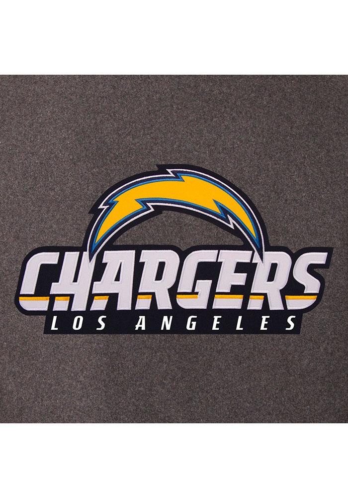 Los Angeles Chargers Mens Grey Reversible Wool Leather Heavyweight Jacket - Image 4