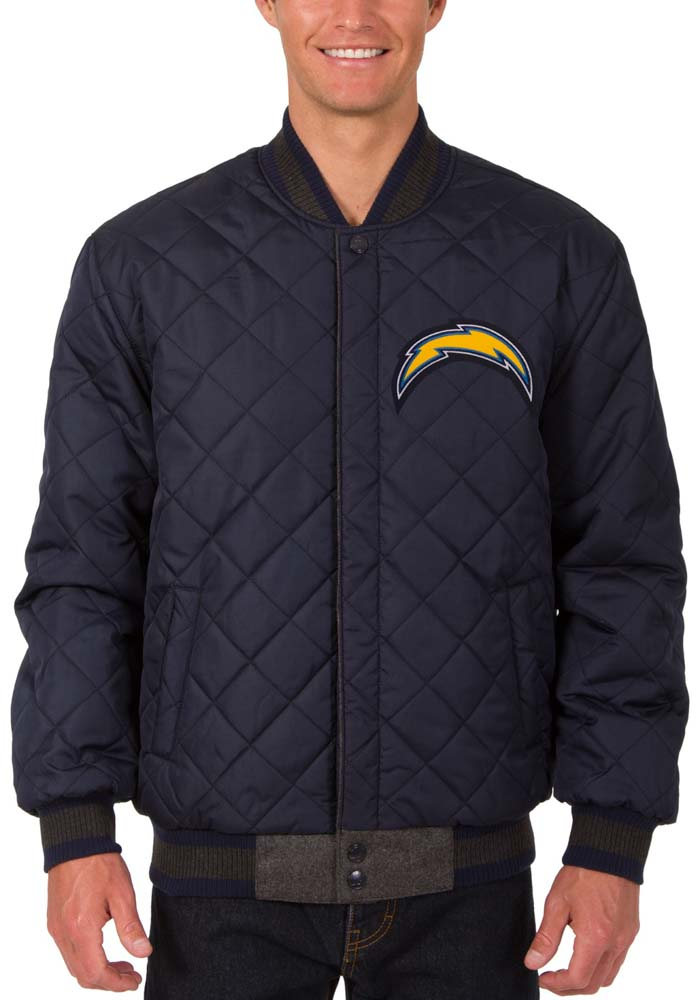 Los Angeles Chargers Mens Grey Reversible Wool Leather Heavyweight Jacket - Image 5