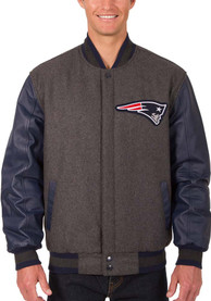 New England Patriots Reversible Wool Leather Heavyweight Jacket - Grey