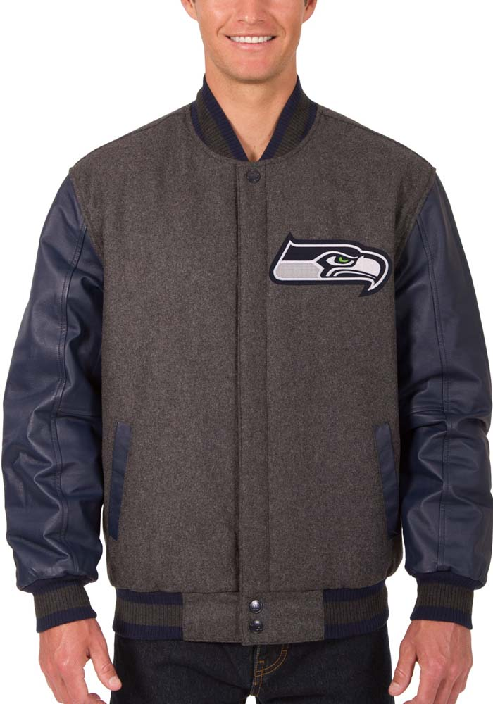 Seattle Seahawks Mens Grey Reversible Wool Leather Heavyweight Jacket - Image 1