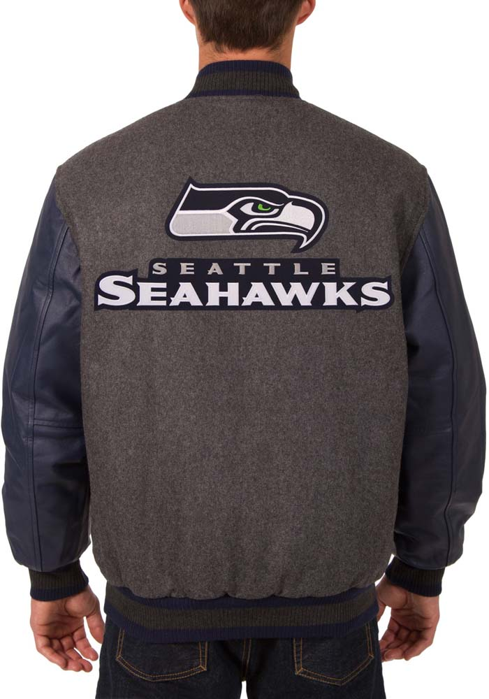 Seattle Seahawks Mens Grey Reversible Wool Leather Heavyweight Jacket - Image 3