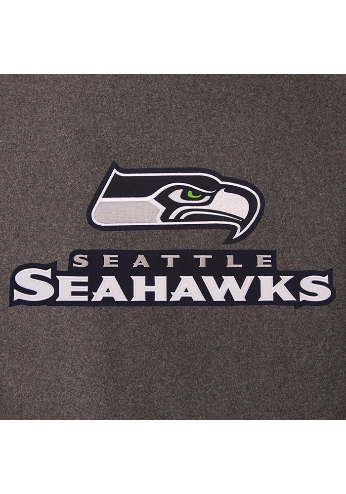 Seattle Seahawks Mens Grey Reversible Wool Leather Heavyweight Jacket - Image 4