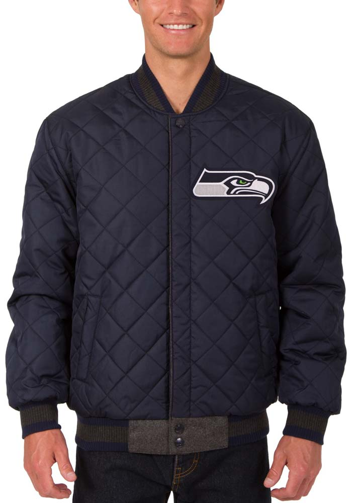 Seattle Seahawks Mens Grey Reversible Wool Leather Heavyweight Jacket - Image 5