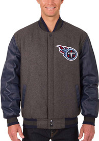 Tennessee Titans Reversible Wool Leather Heavyweight Jacket - Grey
