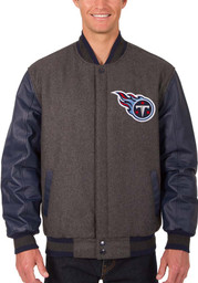 Tennessee Titans Mens Grey Reversible Wool Leather Heavyweight Jacket