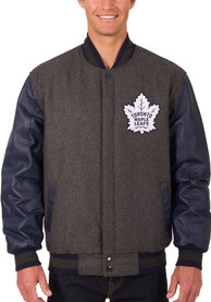 Toronto Maple Leafs Reversible Wool Leather Heavyweight Jacket - Grey