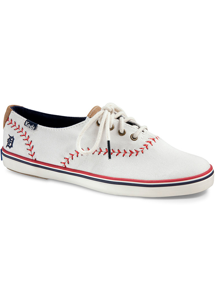 Detroit Tigers White Keds Pennant Womens Shoes - Image 1