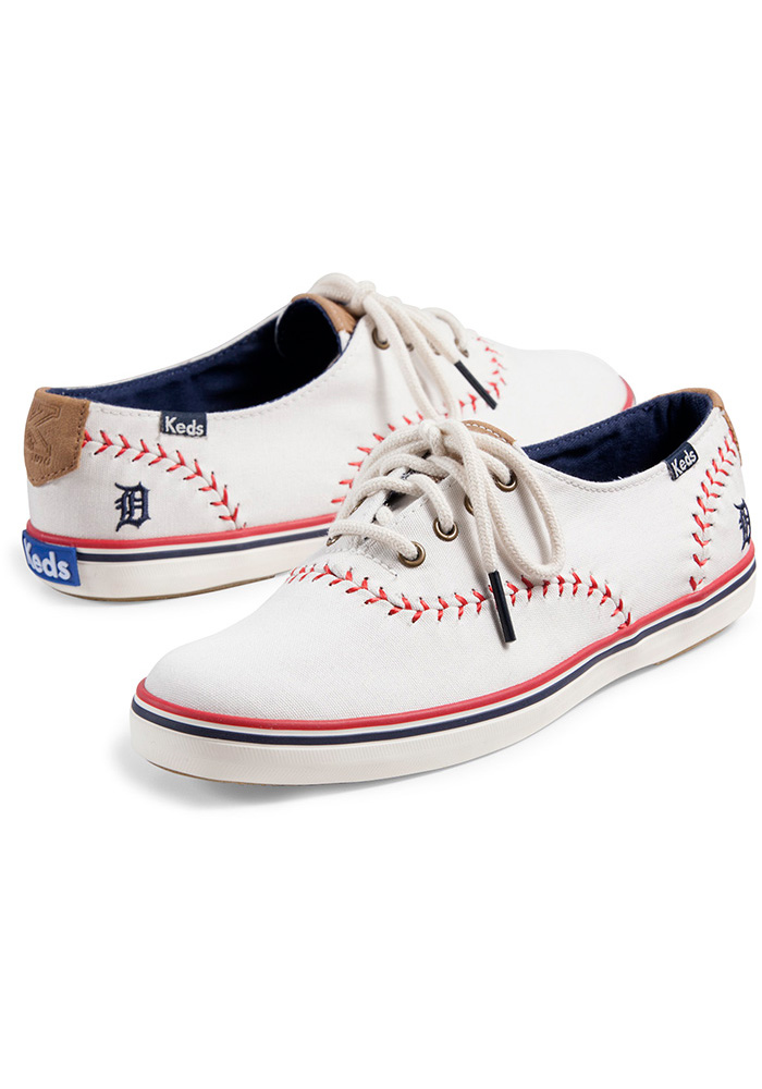 Detroit Tigers White Keds Pennant Womens Shoes - Image 2