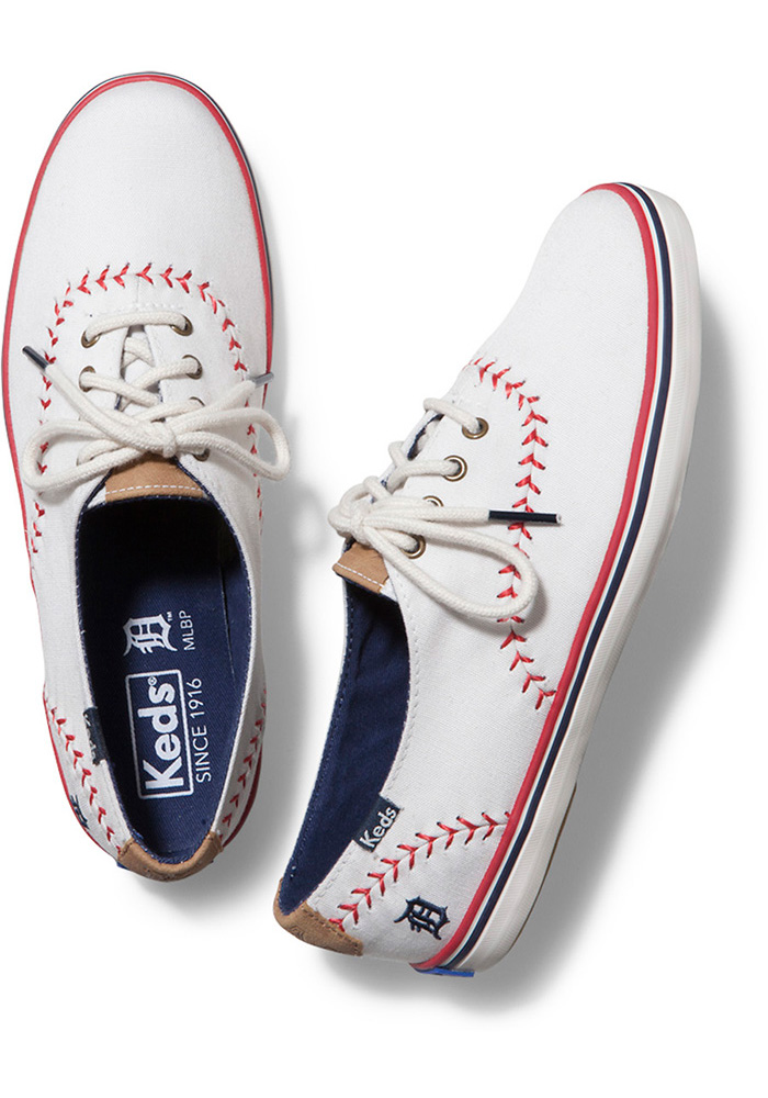 Detroit Tigers White Keds Pennant Womens Shoes - Image 3