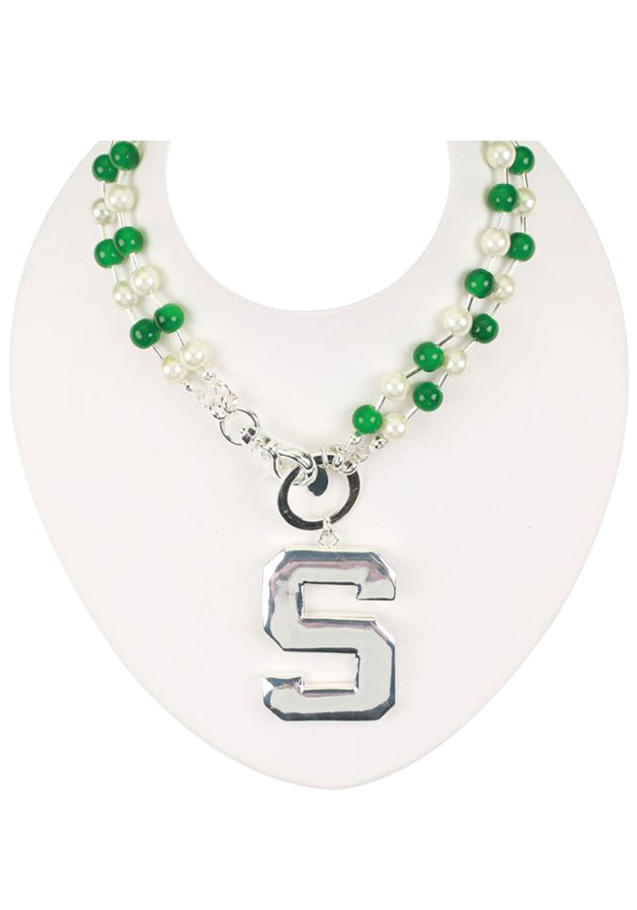 Michigan State Spartans Womens Double Beaded Chain Necklace - Green