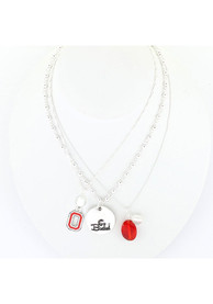Ohio State Buckeyes Womens Trio Necklace - Red