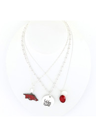 Arkansas Razorbacks Womens Trio Necklace - Maroon