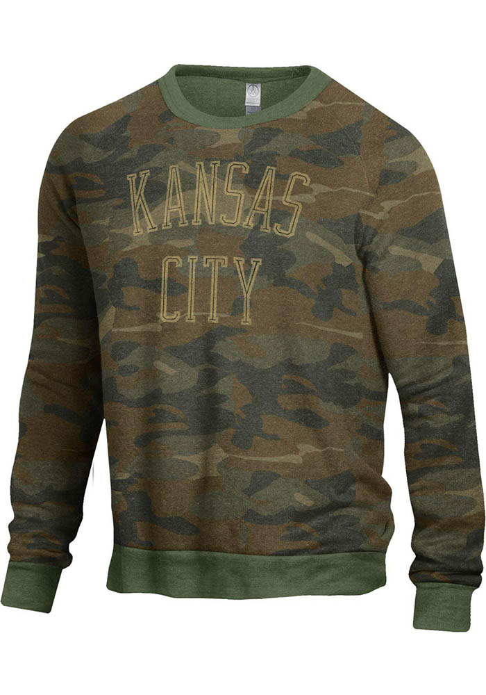 Kansas City Mens Green Champ Crew Long Sleeve Crew Sweatshirt - Image 1
