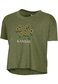 Alternative Apparel Kansas Women's Vintage Pine Wordmark Sunflower Cropped Short Sleeve T-Shirt