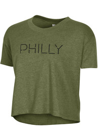 Alternative Apparel Philadelphia Women's Vintage Pine Disconnected Cropped Short Sleeve T-Shirt