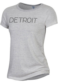 Alternative Apparel Detroit Women's Oatmeal Classic Stripe Disconnected Short Sleeve T-Shirt